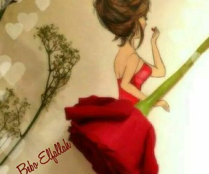 red, rose, and dress image