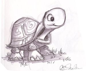 turtle, cute, and drawing image