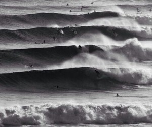 b&w, black and white, and waves image
