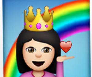 emoji, girl, and rainbow image