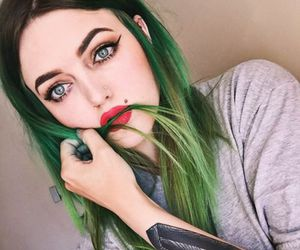 green hair, tattoo, and cherry amber image