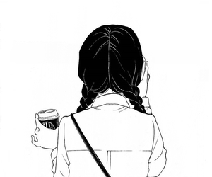 girl, drawing, and coffee image