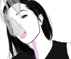 outline, drawing, and girl image