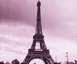 city, eiffel tower, and pink image