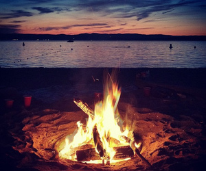 beach, fire, and water image