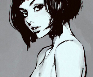 collarbones, girl, and drawing image