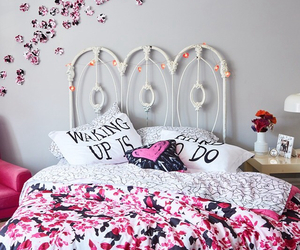 bed, flower, and pink image