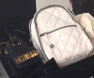 backpack, black and white, and chains image