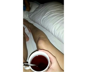 bed, legs, and tea image