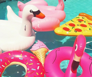 summer, pool, and pizza image