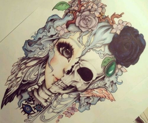 drawing, art, and skull image