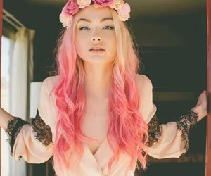 blond, flowers, and pink image