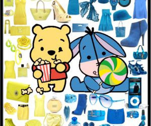 blue, winnie the pooh, and yellow image