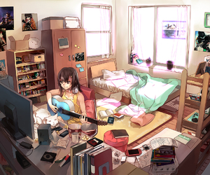 anime, room, and guitar image