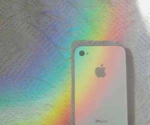 iphone, rainbow, and white image