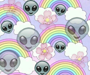 alien, wallpaper, and rainbow image