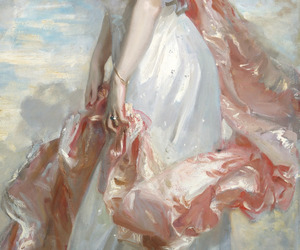 art, pink, and dress image
