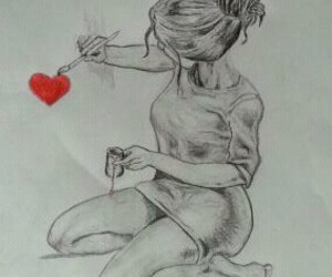 drawing, heart, and girl image