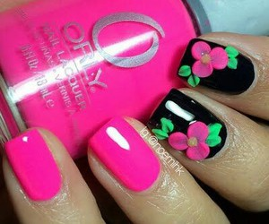 flowers, greens, and nail art image