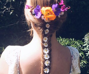 fishtail, flowers, and hair image