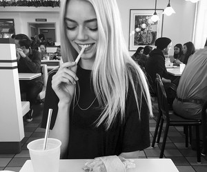 black and white, blonde, and model image