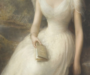 book, dress, and oil paint image