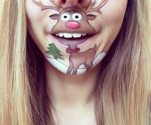 makeup, christmas, and deer image