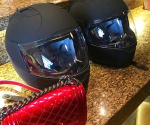 biker, helmet, and red image
