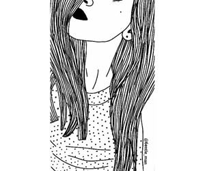 girl, art, and black and white image