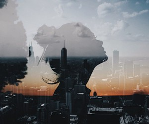 city, double exposure, and girl image