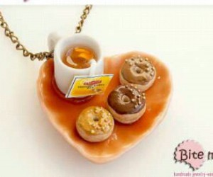 donuts, necklace, and lipton tea image