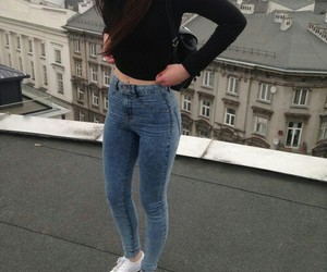girl, fashion, and jeans image