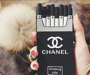 chanel, black, and cigarette image