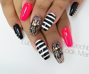 beauty, black nails, and girly image