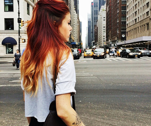 hair, red, and city image