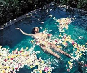 flowers, girl, and pool image