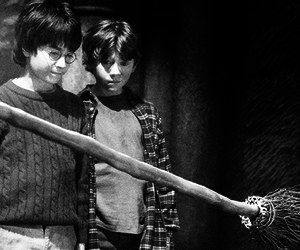harry potter, black and white, and ron image