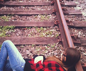 girl, sad, and train image