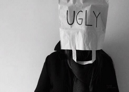 ugly, black and white, and sad image