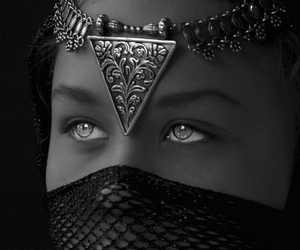 black and white, indian, and eyes image