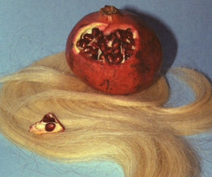 blonde, hair, and pomegranate image