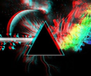 Pink Floyd, triangle, and moon image
