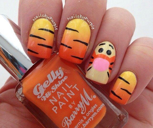 nails, nail art, and orange image