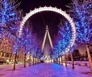 london, lights, and city image
