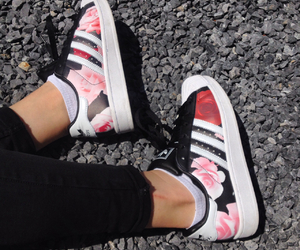 adidas, flowers, and shoes image