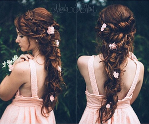 braid, flowers, and Prom image