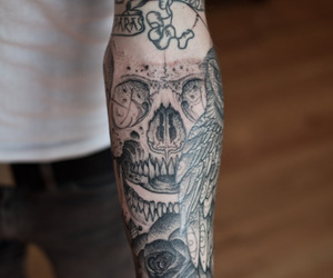 tattoo, skull, and boy image