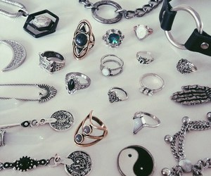 rings, necklace, and grunge image