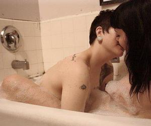 boy and girl, couple, and shower image