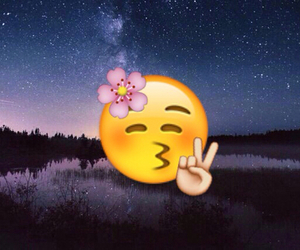 flower, emoji, and background image